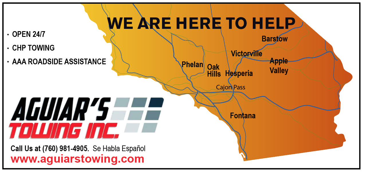 Our service area is Barstow, Victorville, Hesperia, Apple Valley, Oak Hills, Phelan, El Cajon Pass and Fontana